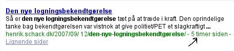 Den nye logningsbekendtgørelse - Google søgeresultat